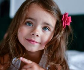 Cute big eyes little girl Stock Photo 01