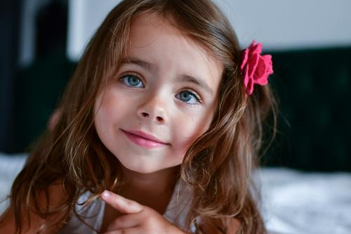 Cute big eyes little girl Stock Photo 01