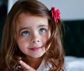 Cute big eyes little girl Stock Photo 03