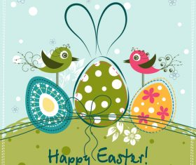 Cute card with easter card hand drawn vector 01