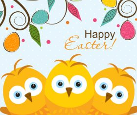 Cute chick with easter card design vector 01