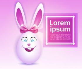 Cute easter egg rabbit design vector 03