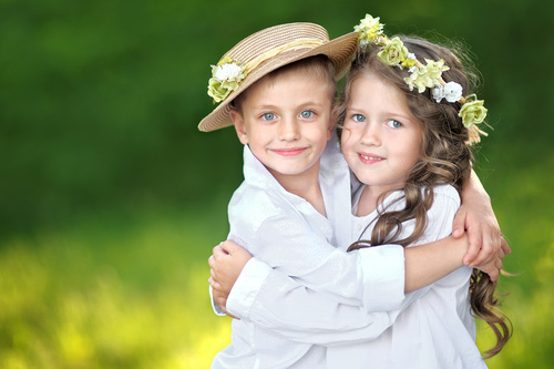 Cute little girl with little boy Stock Photo