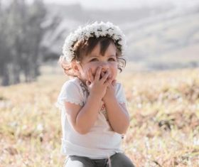 Cute shy little girl Stock Photo