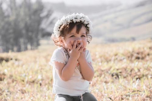 Cute shy little girl Stock Photo