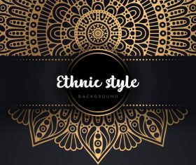 Decor golden ethnic background art vector 02