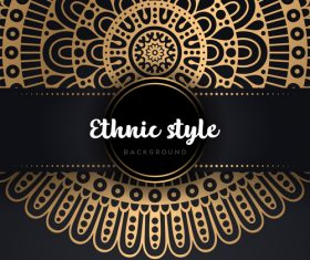Decor golden ethnic background art vector 03