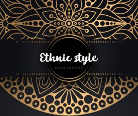 Decor golden ethnic background art vector 04