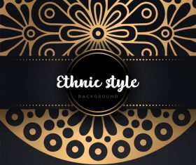 Decor golden ethnic background art vector 06