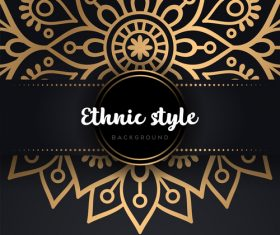 Decor golden ethnic background art vector 01