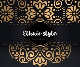 Decor golden ethnic background art vector 07