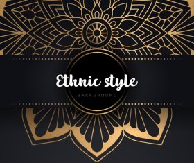 Decor golden ethnic background art vector 08