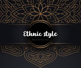 Decor golden ethnic background art vector 09