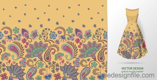 Decor seamless patter with dress mockup vector 01
