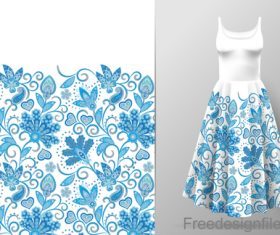 Decor seamless patter with dress mockup vector 02