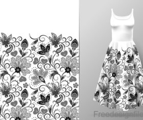 Decor seamless patter with dress mockup vector 03