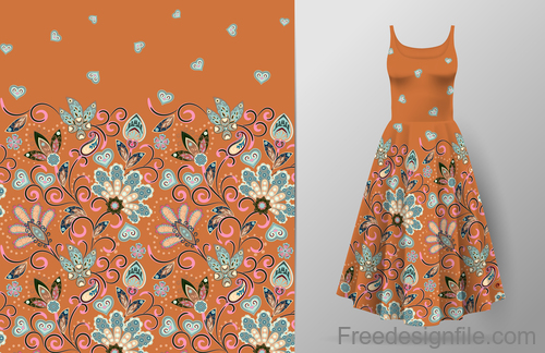 Decor seamless patter with dress mockup vector 05