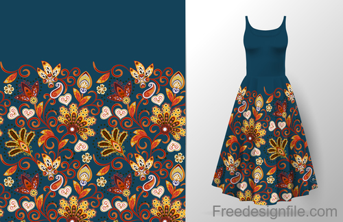 Decor seamless patter with dress mockup vector 07