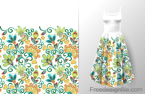 Decor seamless patter with dress mockup vector 08