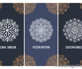 Decorative pattern with card template vector 02
