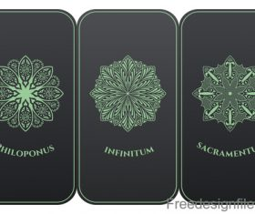 Decorative pattern with card template vector 05