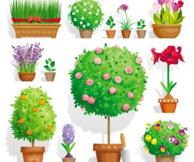 Different flower and flowerpot vector