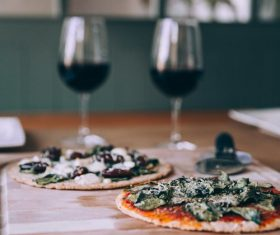 Dinner homemade pizza with red wine Stock Photo