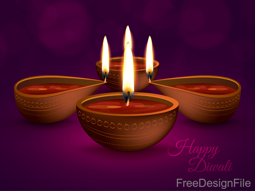 Diwali Holiday vector illustration with burning design 01