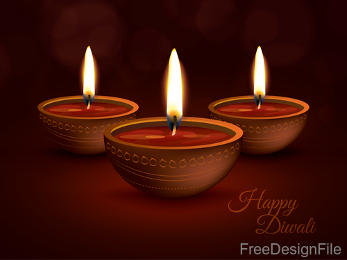 Diwali Holiday vector illustration with burning design 02