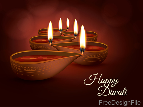 Diwali Holiday vector illustration with burning design 03
