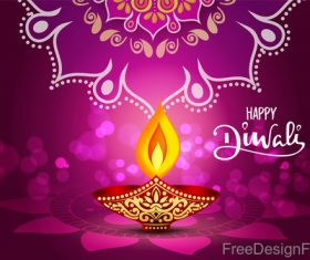 Diwali decor with purple background vectors