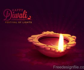 Diwali festival background design with candle vector 01