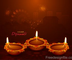 Diwali festival background design with candle vector 02