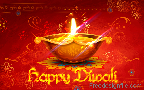 Diwali festival background design with candle vector 03