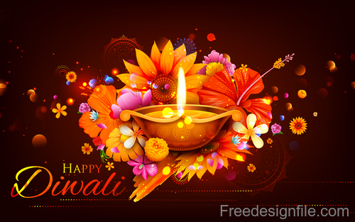 Diwali festival background design with candle vector 04