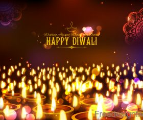 Diwali festival background design with candle vector 05