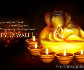Diwali festival background design with candle vector 06