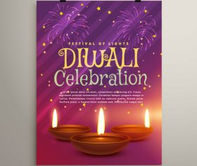 Diwali festival flyer template vector 03