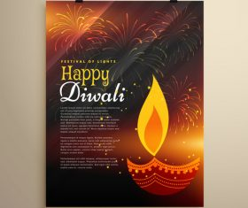 Diwali festival flyer template vector 04