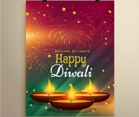Diwali festival flyer template vector 05
