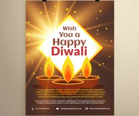 Diwali festival flyer template vector 07