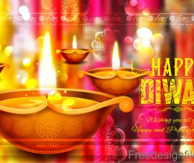 Diwali festival with blurs background vector 01