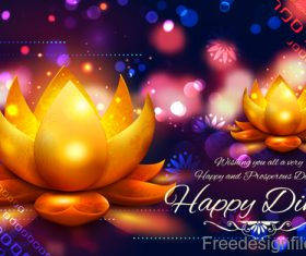 Diwali festival with blurs background vector 02