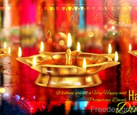 Diwali festival with blurs background vector 03