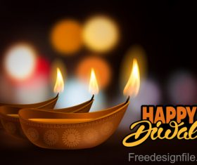 Diwali festival with blurs background vector 06