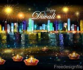 Diwali with firework background vector 01