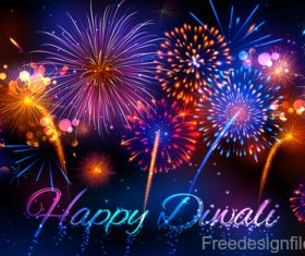Diwali with firework background vector 02