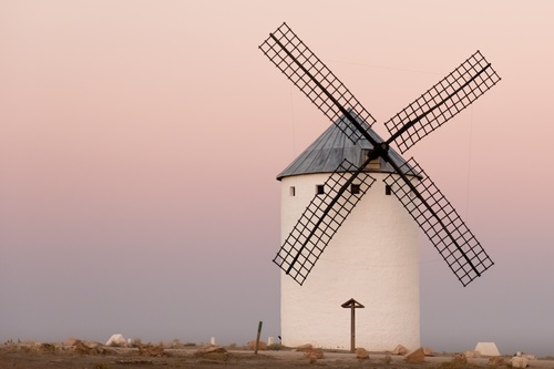 Dutch windmill at dusk Stock Photo
