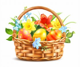 Easter Basket With Eggs vector