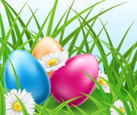 Easter Eggs In Grass With Daisies vector